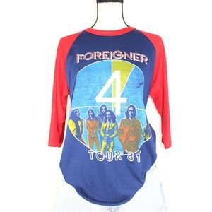 Vintage 1981 Foreigner Tour Baseball Band T-Shirt
